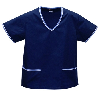 Contrast Trim Scrub Top - Navy/Blue Trim - Style# A02 (On Sale)