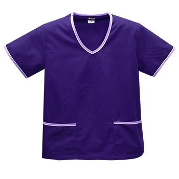 Contrast Trim Scrub Top - Purple/Lilac Trim Style# A02 (On Sale)