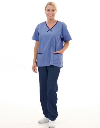 Mix & Match Trim Scrub Set  Style# MA11SET(Blue Top/Navy Pants)