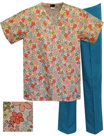 Printed Scrub Set - A701/Teal Pants
