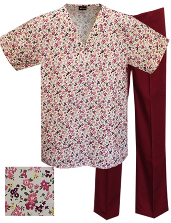 Printed Scrub Set - A708/Wine Pants