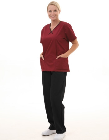 Mix & Match Trim Scrub Set  Style# MA11SET(Wine Top/Black Pants)