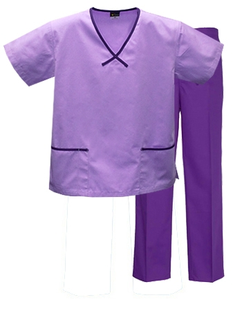 Mix & Match Trim Scrub Set  Style# MA11SET(LilacTop/Purple Pants)