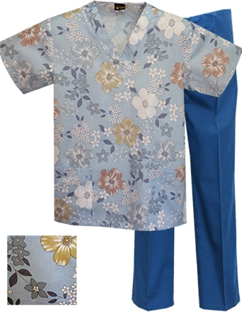 Printed Scrub Set - P1805/C.Blue Pants