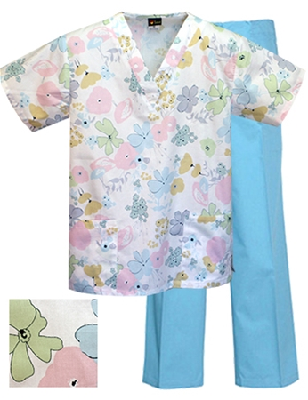 Printed Scrub Set - P1832/Aqua Pants