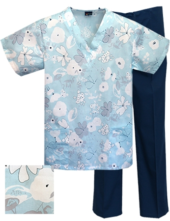 Printed Scrub Set - P1833/Navy Pants