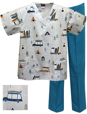 Printed Scrub Set - P8311/Teal Pants