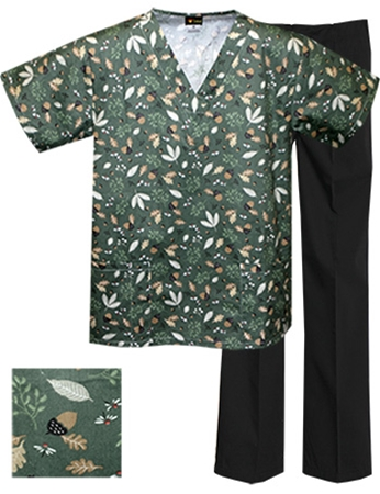 Printed Scrub Set - P8321/Black Pants