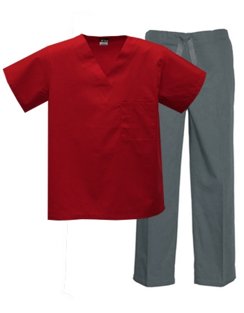 Mix & Match Color Set - 1 pocket Red Top & Grey Pants Style # MX01SET