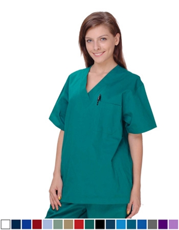 Unisex Solid Scrub Top - 1 Chest Pocket  Style# UXT01 (Special Sale)