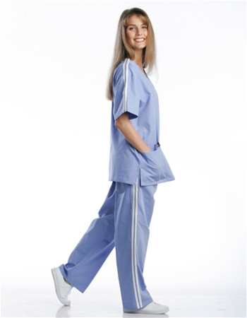 Athletic Stripe Scrub Set (2 Pocket Top & 2 Pocket Pants) - Style# A03SETC